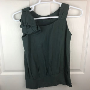 NWT The Limited Tank Top Ruffle Green Size XS